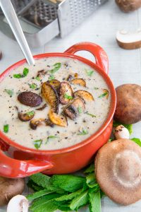 CREAM OF MUSHROOM SOUP with Havarti cheese