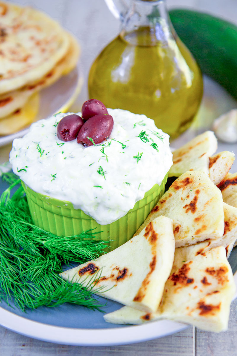 TZATZIKI SAUCE RECIPE with cucumber and Greek yogurt