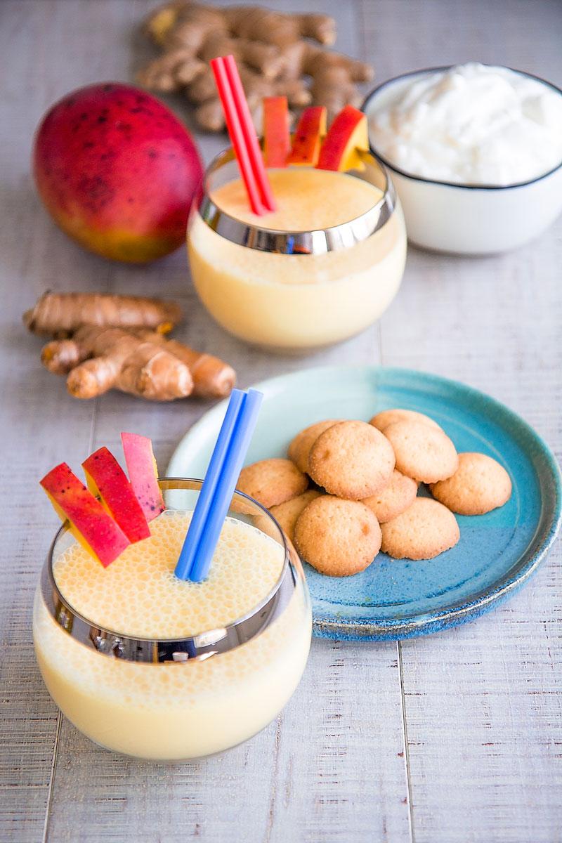 MANGO LASSI RECIPE - Refreshing Indian drink with yogurt, ginger and turmeric