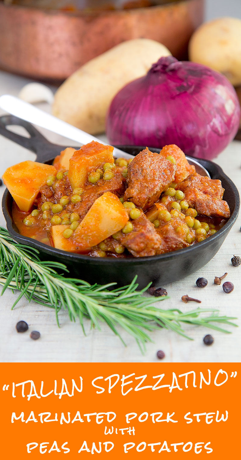 ITALIAN PORK SHOULDER STEW with potatoes and peas (Spezzatino)
