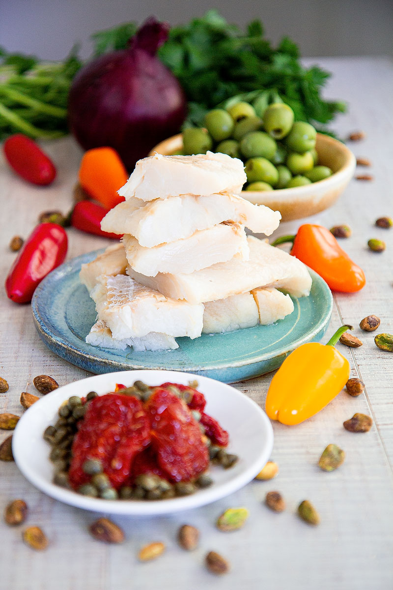 BACCALÀ SALAD SICILIAN WAY RECIPE with olives and sweet peppers