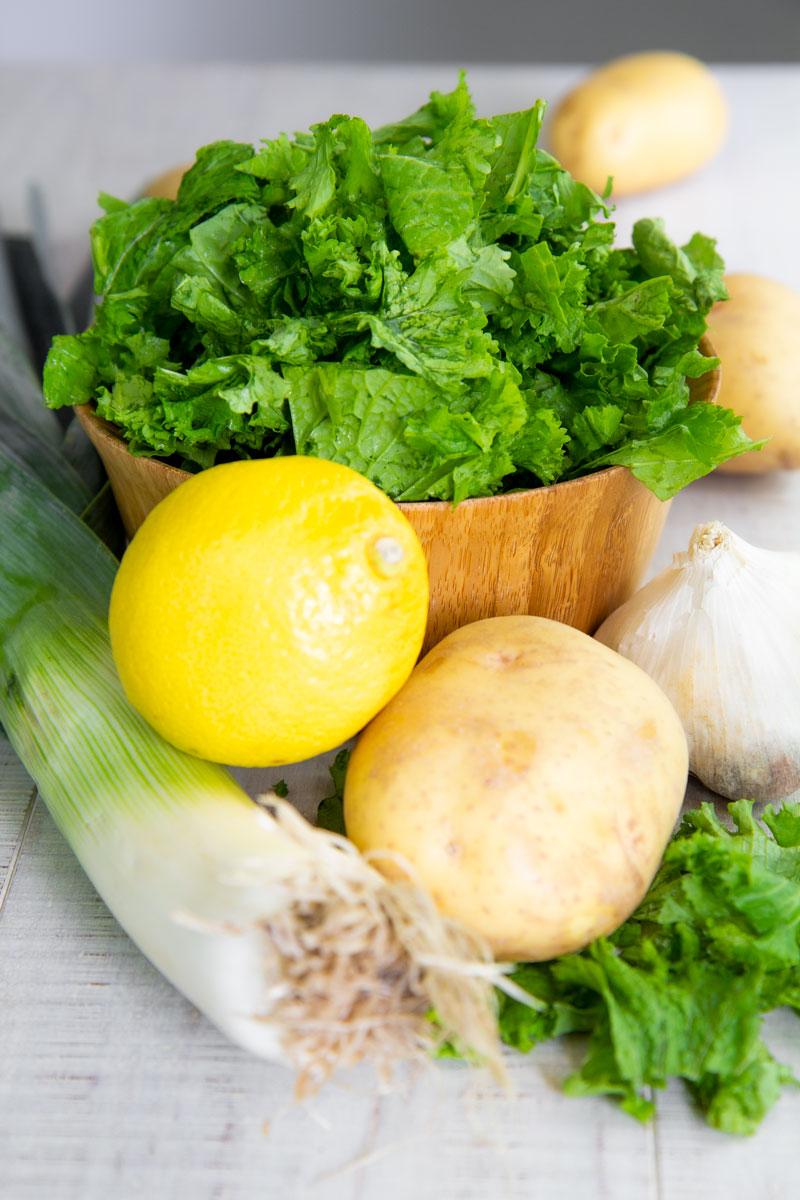 SAUTEED MUSTARD GREENS with potatoes and leeks